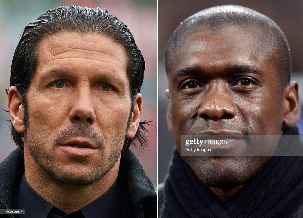 IMAGES - Image Numbers 452644261 (L) and 464384693) In this composite image a comparison has been made between Head coach Diego Simeone of Atletico de Madrid (L) and Head coach AC Milan Clarence Seedorf . AC MIlan and Atletico Madrid meet in the UEFA Champions League Round of 16 match 1st leg on February 19,2014 with the 2nd leg on March 11 ,2014. MILAN, ITALY - JANUARY 22: Head coach AC Milan Clarence Seedorf prior to the TIM Cup match between AC Milan and Udinese Calcio at Stadio Giuseppe Meazza on January 22, 2014 in Milan, Italy.