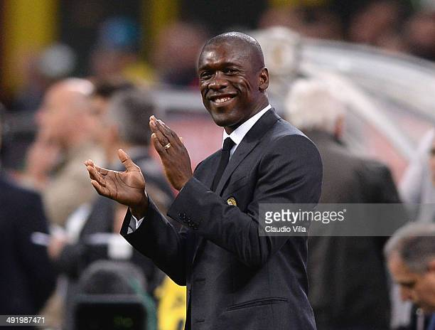 Head coach AC Milan Clarence Seedorf smiles during the Serie A match between AC Milan and US Sassuolo Calcio at San Siro Stadium on May 18 2014 in...