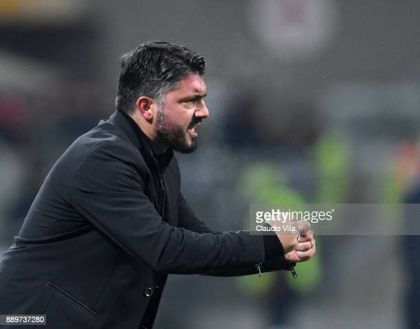 Head coach AC Milan Gennaro Gattuso celebrates during the Serie A match between AC Milan and Bologna FC at Stadio Giuseppe Meazza on December 10 2017...