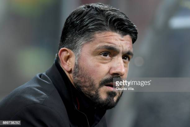 Head coach AC Milan Gennaro Gattuso looks on during the Serie A match between AC Milan and Bologna FC at Stadio Giuseppe Meazza on December 10 2017...