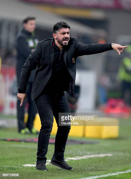 Head coach AC Milan Gennaro Gattuso reacts during the Serie A match between AC Milan and Bologna FC at Stadio Giuseppe Meazza on December 10 2017 in...