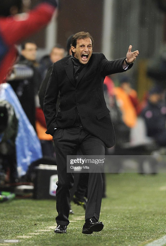 Head coach AC Milan Massimiliano Allegri reacts during the Serie A match between Genoa CFC and AC Milan at Stadio Luigi Ferraris on March 8, 2013 in Genoa, Italy.