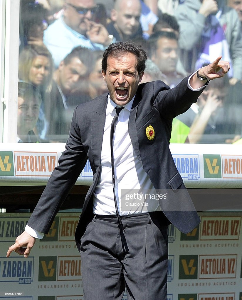 Head coach AC Milan Massimiliano Allegri reacts during the Serie A match between ACF Fiorentina and AC Milan at Stadio Artemio Franchi on April 7, 2013 in Florence, Italy.