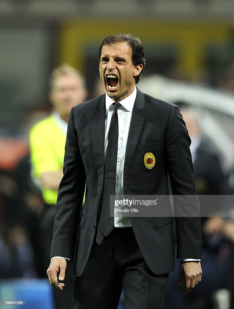 Head coach AC Milan Massimiliano Allegri reacts during the Serie A match between AC Milan and SSC Napoli at San Siro Stadium on April 14, 2013 in Milan, Italy.