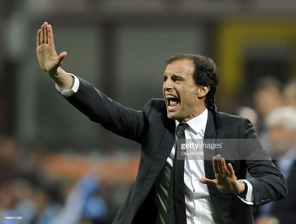Head coach AC Milan <a gi-track='captionPersonalityLinkClicked' href=/galleries/search?phrase=Massimiliano+Allegri&family=editorial&specificpeople=3470667 ng-click='$event.stopPropagation()'>Massimiliano Allegri</a> reacts during the Serie A match between AC Milan and SSC Napoli at San Siro Stadium on April 14, 2013 in Milan, Italy.