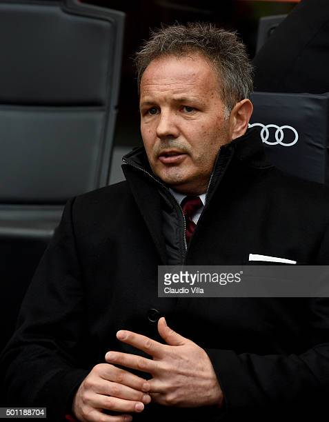 Head coach AC Milan Sinisa Mihajlovic looks on prior to the Serie A match betweeen AC Milan and Hellas Verona FC at Stadio Giuseppe Meazza on...