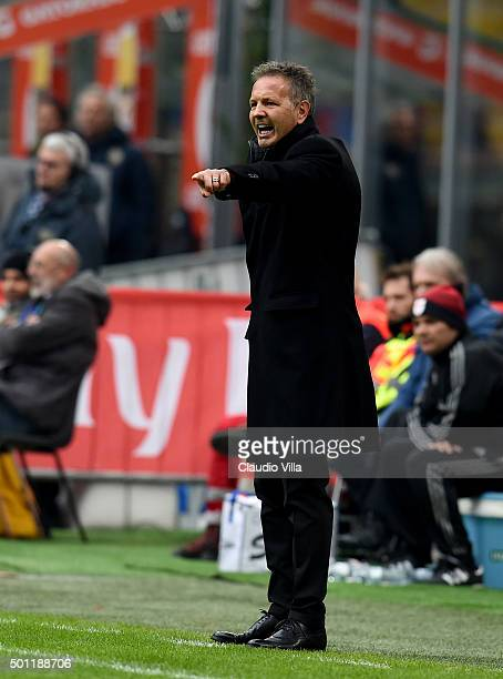 Head coach AC Milan Sinisa Mihajlovic reacts during the Serie A match betweeen AC Milan and Hellas Verona FC at Stadio Giuseppe Meazza on December 13...