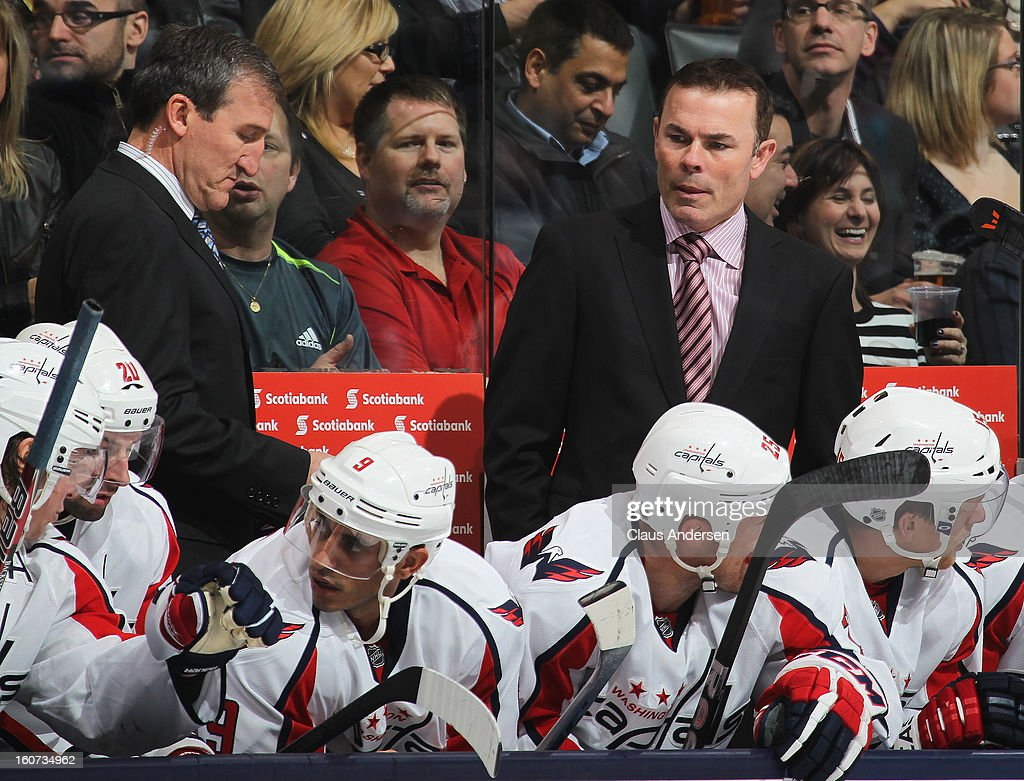 Head coach Adam Oates of the Washington Capitals looks at his troops on the bench in a game against the Toronto Maple Leafs on January 31, 2013 at the Air Canada Centre in Toronto, Canada. The Leafs defeated the Capitals 3-2.