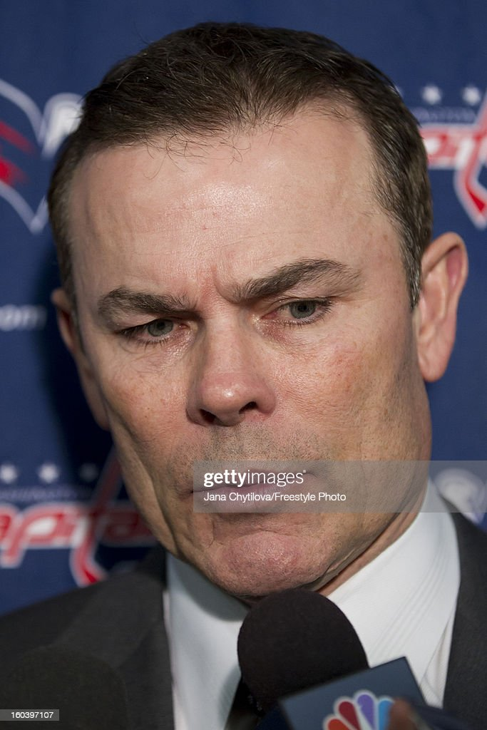 Head coach Adam Oates of the Washington Capitals speaks to the media following a loss to the Ottawa Senators at Scotiabank Place on January 29, 2013 in Ottawa, Ontario, Canada.