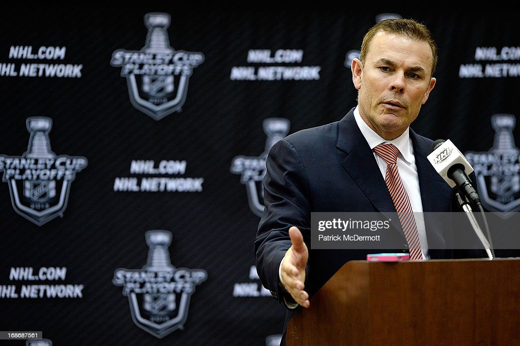 Head Coach <a gi-track='captionPersonalityLinkClicked' href=/galleries/search?phrase=Adam+Oates&family=editorial&specificpeople=209315 ng-click='$event.stopPropagation()'>Adam Oates</a> of the Washington Capitals speaks to the media during a press conference following Game Seven of the Eastern Conference Quarterfinals during the 2013 NHL Stanley Cup Playoffs in which the New York Rangers defeated the Washington Capitals 5-0 at Verizon Center on May 13, 2013 in Washington, DC.