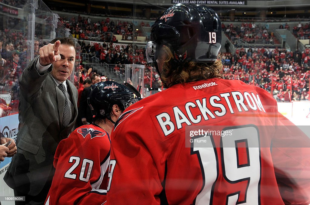 Head coach Adam Oates of the Washington Capitals talks with Nicklas Backstrom #19 during the game against the Toronto Maple Leafs at the Verizon Center on February 5, 2013 in Washington, DC.