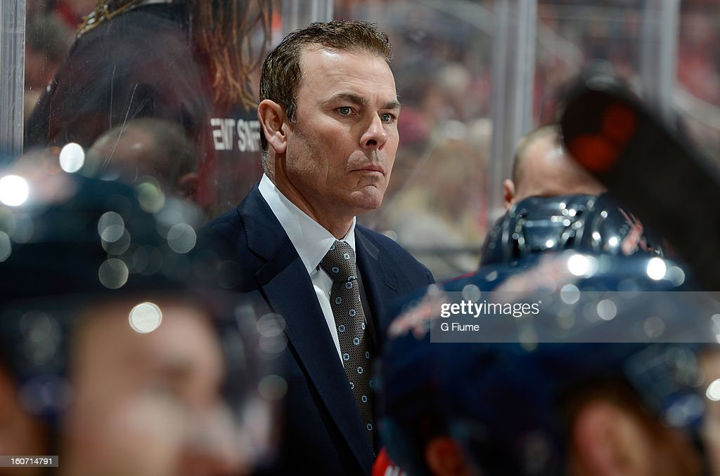 Head coach Adam Oates of the Washington Capitals watches the game against the Philadelphia Flyers at the Verizon Center on February 1, 2013 in Washington, DC.