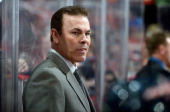 Head coach Adam Oates of the Washington Capitals watches the game against the Toronto Maple Leafs at the Verizon Center on February 5 2013 in...