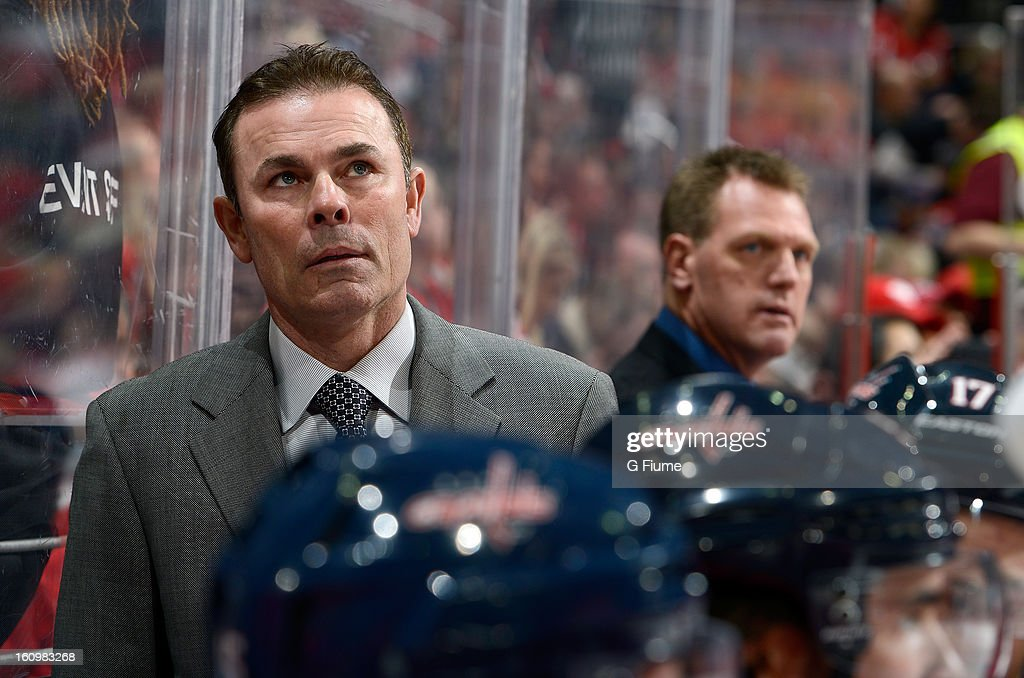Head coach Adam Oates of the Washington Capitals watches the game against the Toronto Maple Leafs at the Verizon Center on February 5, 2013 in Washington, DC.