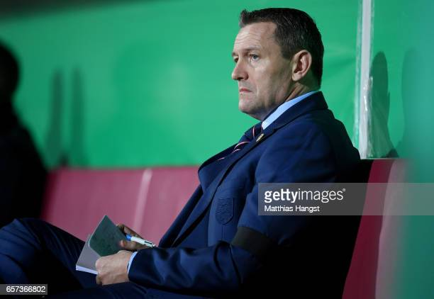 Head coach Aidy Boothroyd of England is seen prior to the U21 international friendly match between Germany and England at BRITAArena on March 24 2017...