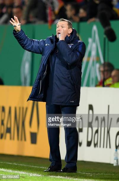 Head coach Aidy Boothroyd of England reacts during the U21 international friendly match between Germany and England at BRITAArena on March 24 2017 in...