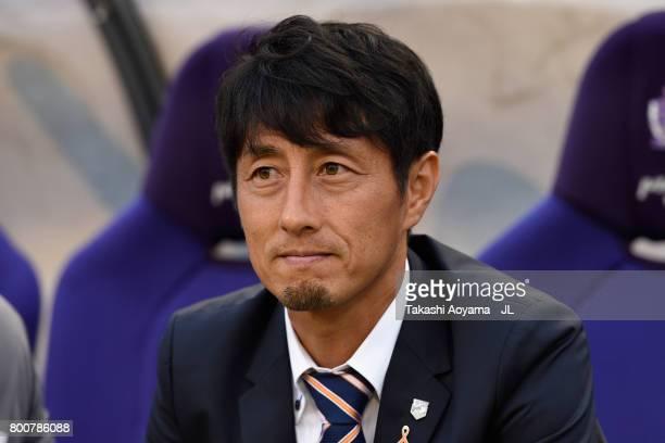 Head coach Akira Ito of Omiya Ardija looks on prior to the JLeague J1 match between Sanfrecce Hiroshima and Omiya Ardija at Edion Stadium on June 25...