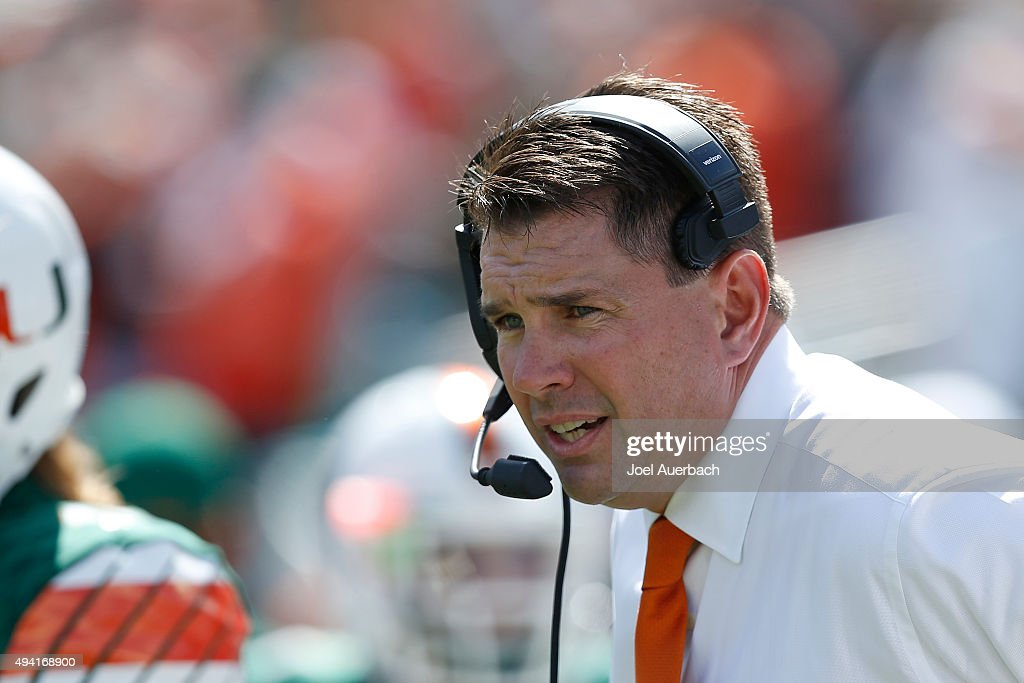 Head coach <a gi-track='captionPersonalityLinkClicked' href=/galleries/search?phrase=Al+Golden&family=editorial&specificpeople=6315572 ng-click='$event.stopPropagation()'>Al Golden</a> of the Miami Hurricanes looks on during first quarter action against the Clemson Tigers on October 24, 2015 at Sun Life Stadium in Miami Gardens, Florida.
