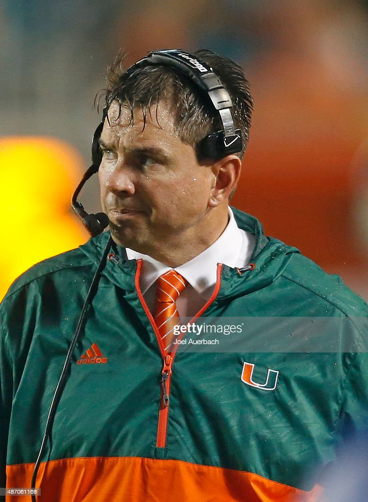 Head coach <a gi-track='captionPersonalityLinkClicked' href=/galleries/search?phrase=Al+Golden&family=editorial&specificpeople=6315572 ng-click='$event.stopPropagation()'>Al Golden</a> of the Miami Hurricanes looks on during third quarter action against the Bethune-Cookman Wildcats on September 5, 2015 at Sun Life Stadium in Miami Gardens, Florida. Miami defeated Bethune-Cookman 45-0.