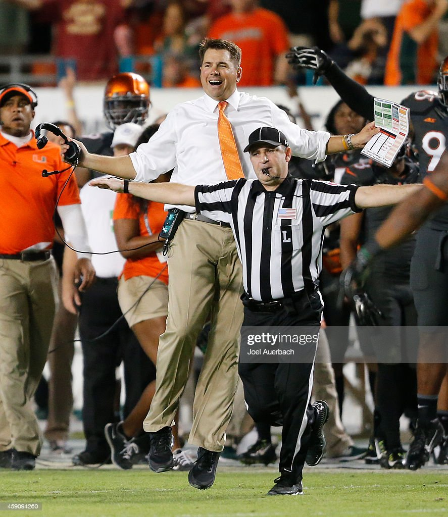 Head coach <a gi-track='captionPersonalityLinkClicked' href=/galleries/search?phrase=Al+Golden&family=editorial&specificpeople=6315572 ng-click='$event.stopPropagation()'>Al Golden</a> of the Miami Hurricanes reacts after a fumble recovery call was reversed during fourth quarter action against the Florida State Seminoles on November 15, 2014 at Sun Life Stadium in Miami Gardens, Florida. The Seminoles defeated the Hurricanes 30-26.