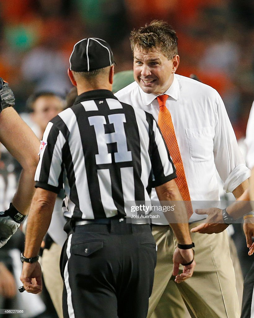 Head coach <a gi-track='captionPersonalityLinkClicked' href=/galleries/search?phrase=Al+Golden&family=editorial&specificpeople=6315572 ng-click='$event.stopPropagation()'>Al Golden</a> of the Miami Hurricanes reacts after a touchdown was called out of bounds against the Duke Blue Devils on September 27, 2014 at Sun Life Stadium in Miami Gardens, Florida.