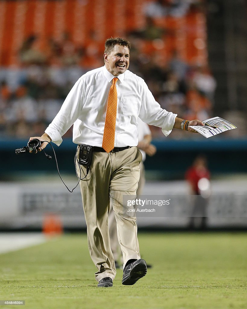 Head coach <a gi-track='captionPersonalityLinkClicked' href=/galleries/search?phrase=Al+Golden&family=editorial&specificpeople=6315572 ng-click='$event.stopPropagation()'>Al Golden</a> of the Miami Hurricanes reacts to fourth quarter action against the Florida A&M Rattlers on September 6, 2014 at Sun Life Stadium in Miami Gardens, Florida. The Hurricanes defeated the Rattlers 41-7.
