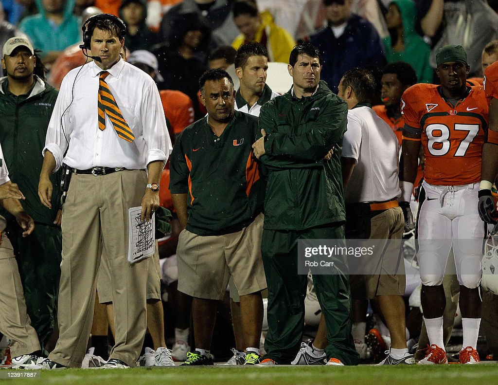 Head coach Al Golden of the Miami Hurricanes watches from the sidelines during the second half against the Maryland Terrapins at Byrd Stadium on September 5, 2011 in College Park, Maryland. Maryland won 32-24.