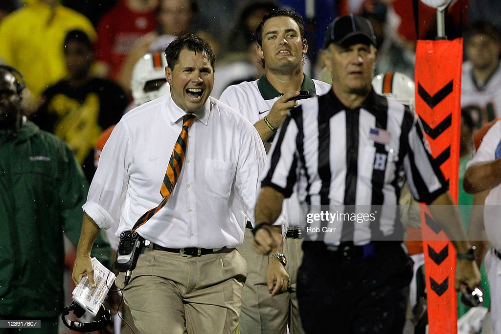 Head coach Al Golden of the Miami Hurricanes yells at an official during the second half against the Maryland Terrapins at Byrd Stadium on September 5, 2011 in College Park, Maryland. Maryland won 32-24.