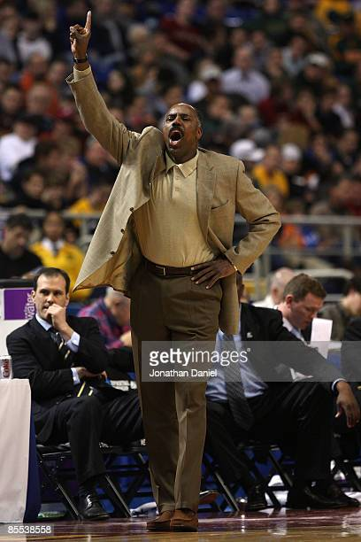 Head coach Al Skinner of the Boston College Eagles coaches against the USC Trojans during the first round of the NCAA Division I Men's Basketball...