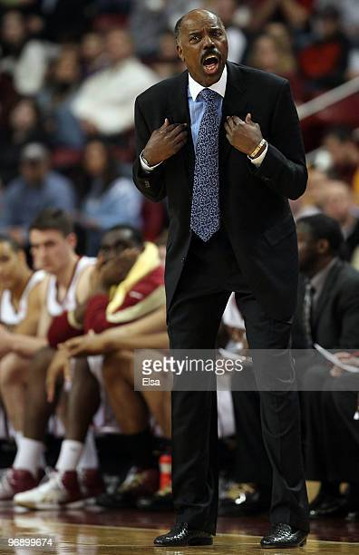 Head coach Al Skinner of the Boston College Eagles reacts to a call against one of his players in the second half against the North Carolina Tar...