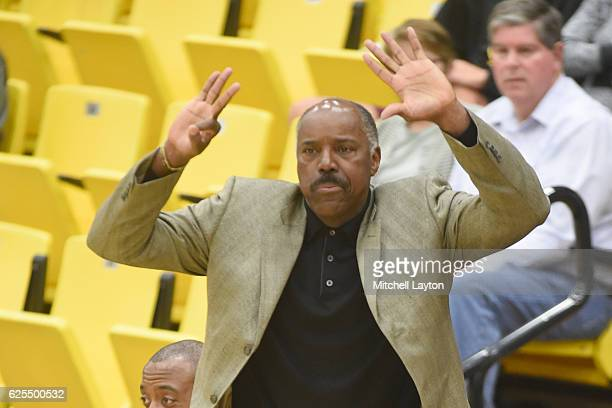 Head coach Al Skinner of the Kennesaw State Owls looks on during a college basketball game against the UMBC Retrievers at the RAC Arena on November...