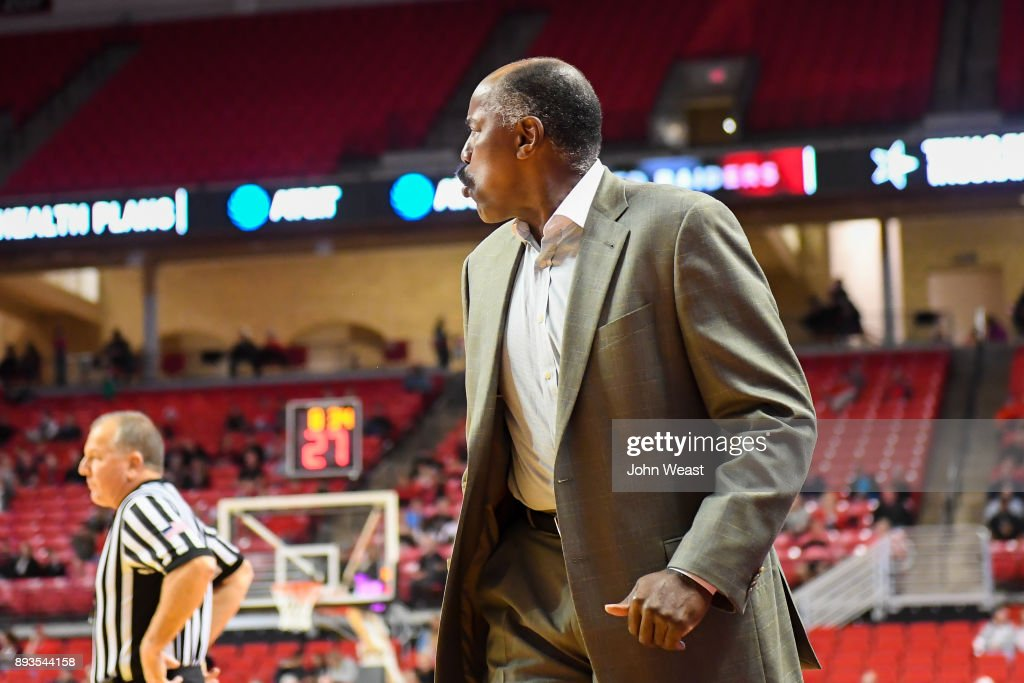 Head coach Al Skinner of the Kennesaw State Owls questions an officials call during the game against the Texas Tech Red Raiders on December 13, 2017 at United Supermarkets Arena in Lubbock, Texas. Texas Tech defeated Kennesaw State 82-53.