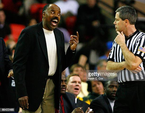 Head coach Al Skinner questions a call with an official during day two against the Boston College Eagles in the 2009 ACC Men's Basketball Tournament...