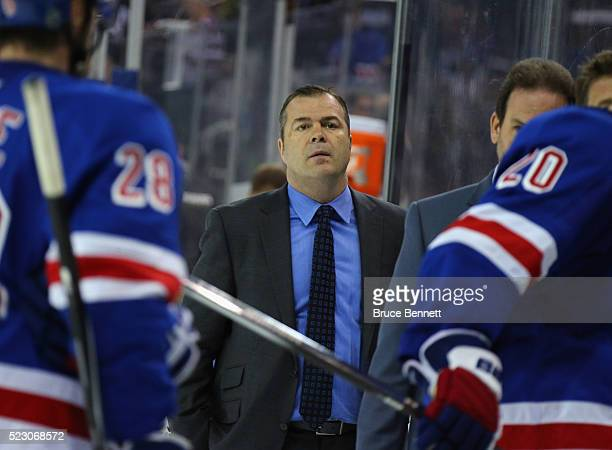 Head coach Alain Vigneault of the New York Rangers leaves the ice following a 50 defeat against the Pittsburgh Penguins in Game Four of the Eastern...