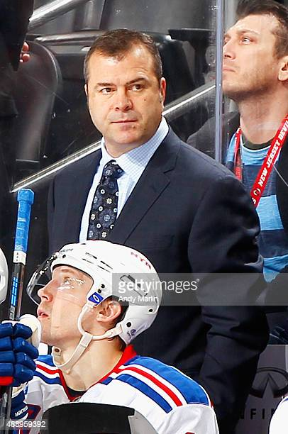 Head coach Alain Vigneault of the New York Rangers looks on during the game against the New Jersey Devils at the Prudential Center on April 7 2015 in...
