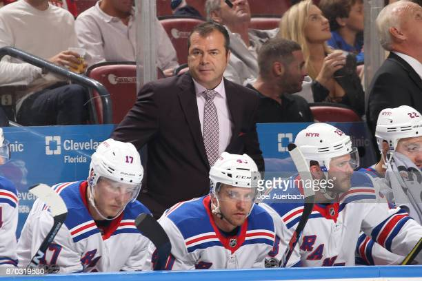 Head coach Alain Vigneault of the New York Rangers looks on during second period action against the Florida Panthers at the BBT Center on November 4...