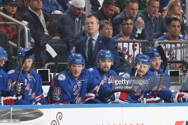 Head coach Alain Vigneault of the New York Rangers looks on from the bench against the Ottawa Senators in Game Four of the Eastern Conference Second...