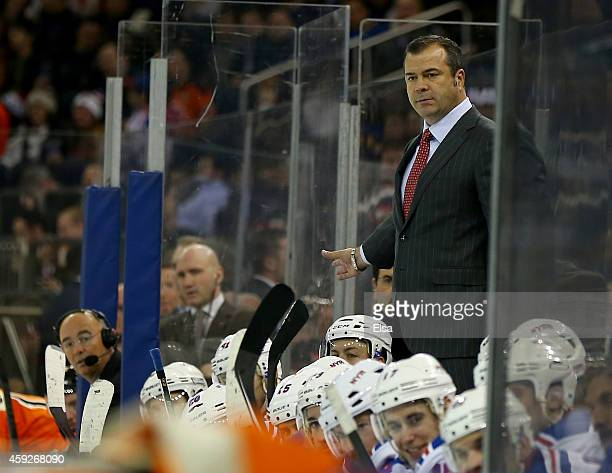 Head coach Alain Vigneault of the New York Rangers looks on in the final minutes of the game against the Philadelphia Flyers on November 19 2014 at...