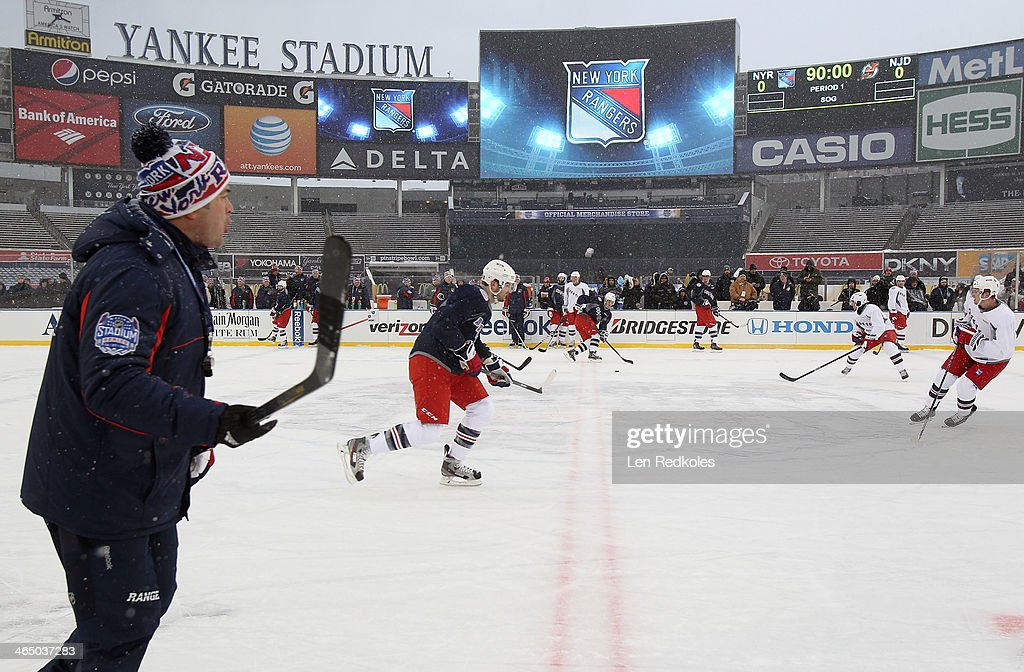 Head Coach <a gi-track='captionPersonalityLinkClicked' href=/galleries/search?phrase=Alain+Vigneault&family=editorial&specificpeople=4146583 ng-click='$event.stopPropagation()'>Alain Vigneault</a> of the New York Rangers oversees practice during the 2014 NHL Stadium Series practice session at Yankee Stadium on January 25, 2014 in New York City.