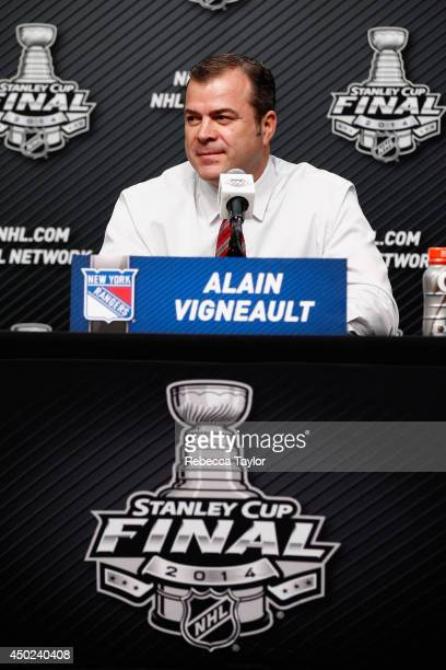 Head coach Alain Vigneault of the New York Rangers speaks to the media before Game Two of the 2014 Stanley Cup Final against the Los Angeles Kings at...