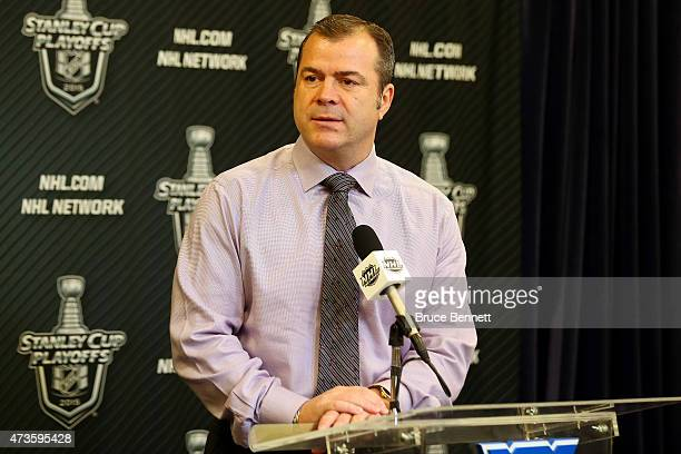 Head Coach Alain Vigneault of the New York Rangers speaks to the media before Game One of the Eastern Conference Finals against the Tampa Bay...