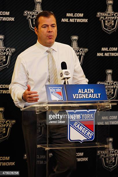 Head coach Alain Vigneault of the New York Rangers speaks with the media following his teams loss to the Tampa Bay Lightning in Game Five of the...