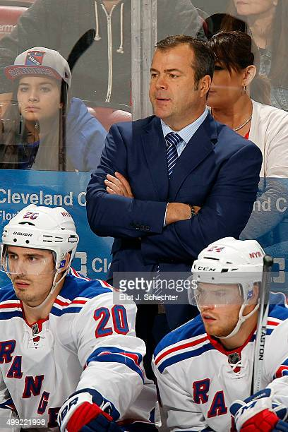 Head coach Alain Vigneault of the New York Rangers watches the action from the bench against the Florida Panthers at the BBT Center on November 21...