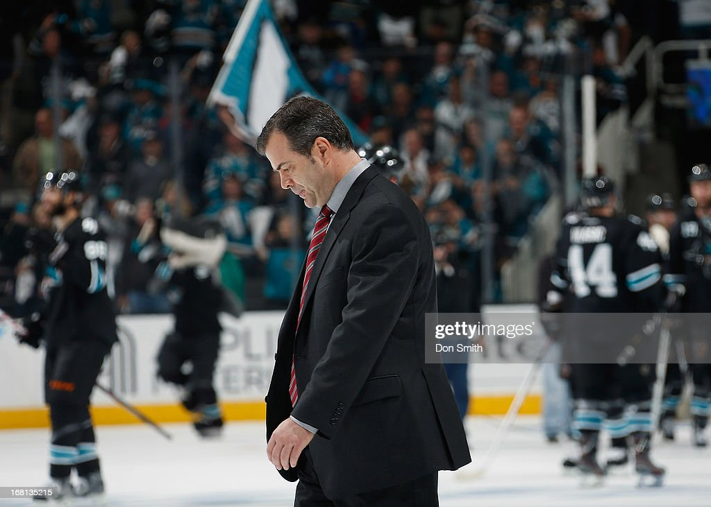 Head Coach Alain Vigneault of the Vancouver Canucks walks off the ice after a loss to the San Jose Sharks in Game One of the Western Conference Quarterfinals during the 2013 Stanley Cup Playoffs at HP Pavilion on May 5, 2013 in San Jose, California.