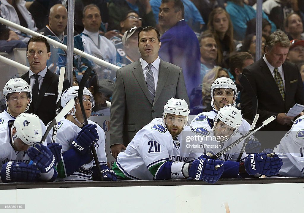 Head coach <a gi-track='captionPersonalityLinkClicked' href=/galleries/search?phrase=Alain+Vigneault&family=editorial&specificpeople=4146583 ng-click='$event.stopPropagation()'>Alain Vigneault</a> of the Vancouver Canucks watches from the bench in Game Four of the Western Conference Quarterfinals against the San Jose Sharks during the 2013 NHL Stanley Cup Playoffs at HP Pavilion on May 7, 2013 in San Jose, California. The Sharks defeated the Canucks 4-3 to sweep the series 4 games to 0.
