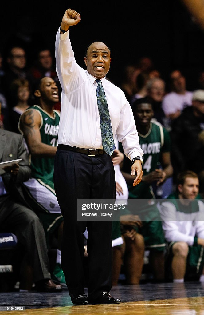 Head coach Alan Major of the Charlotte 49ers seen on the sidelines during the game against the Butler Bulldogs at Hinkle Fieldhouse on February 13, 2013 in Indianapolis, Indiana. Charlotte defeated Butler 71-67.