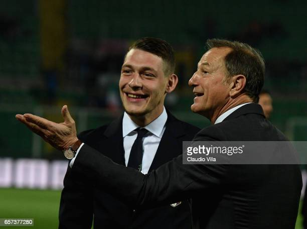 Head coach Albania Giovanni De Biasi and Andrea Belotti of Italy chat ahead of the FIFA 2018 World Cup Qualifier between Italy and Albania at Stadio...