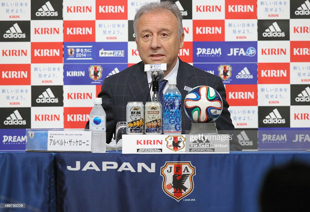 Head coach Alberto Zaccheroni announces the Japan squad for the 2014 FIFA World Cup during a news conference at Grand Prince Hotel Takanawa on May 12, 2014 in Tokyo, Japan.