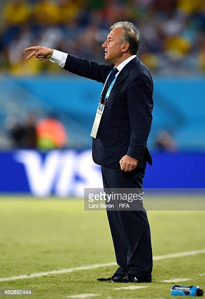 Head coach Alberto Zaccheroni of Japan gestures during the 2014 FIFA World Cup Brazil Group C match between Japan and Greece at Estadio das Dunas on...