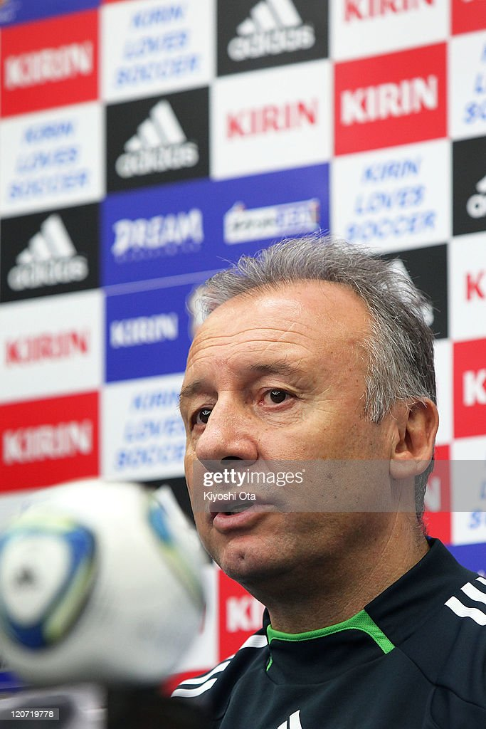 Head coach Alberto Zaccheroni speaks during a press conference following the Japan national team training session ahead of the Kirin Challenge Cup international friendly match against South Korea at Sapporo Dome on August 9, 2011 in Sapporo, Japan.